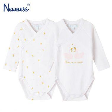 Комплект от 2 броя бебешко боди с дълги ръкави и закопчаване с прехлупване в бяло