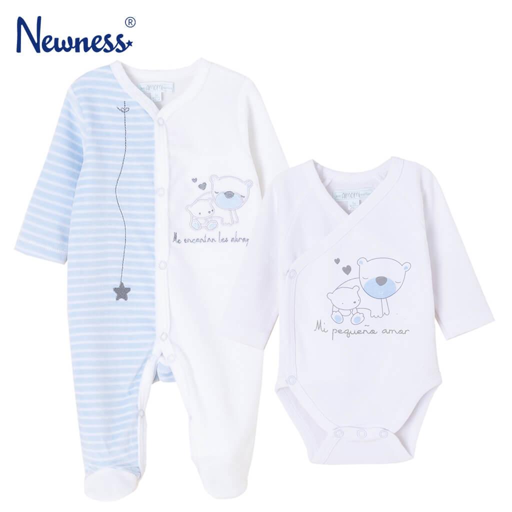 Бебешки комплект от плюшен гащеризон и памучно боди в кутия светло син