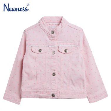 Бебешко дънково яке на точки в розово