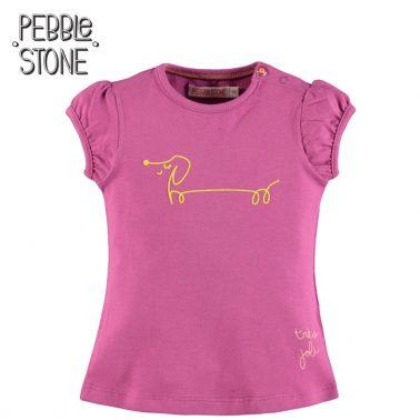 Бебешка блуза с къси буфан ръкави и щампа с дакел лилава