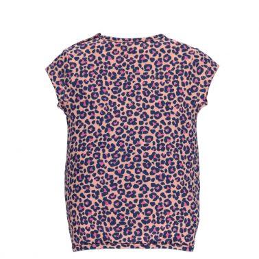 Бебешка блуза с къси ръкави, леопардова щампа и връзка отпред розова
