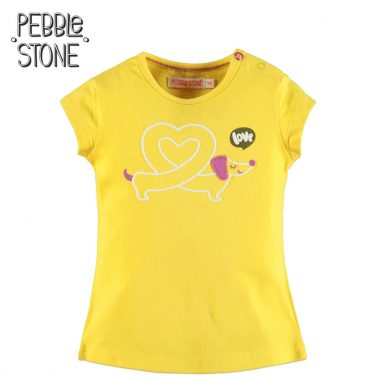 Бебешка блуза с къси ръкави и апликация с дакел жълта