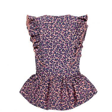 Бебешка леопардова рокля с къдрички в розово