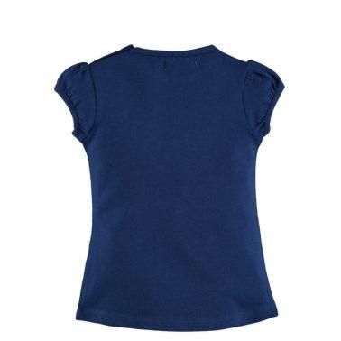 Бебешка блуза с къси буфан ръкави и гумирана апликация тъмно синя