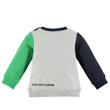 Детска памучна блуза с дълги ръкави зелена