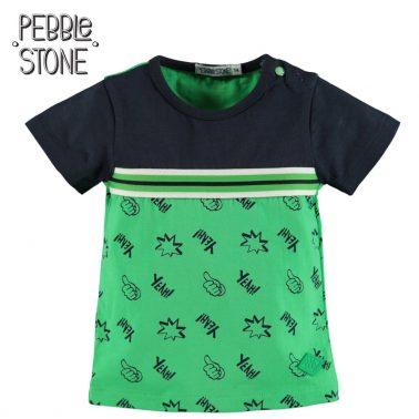Бебешка блуза с къси ръкави и щампи в зелено