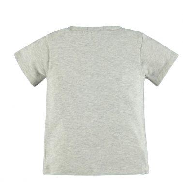 Бебешка памучна блуза с къси ръкави и гумирани надписи  Yeah светло сива