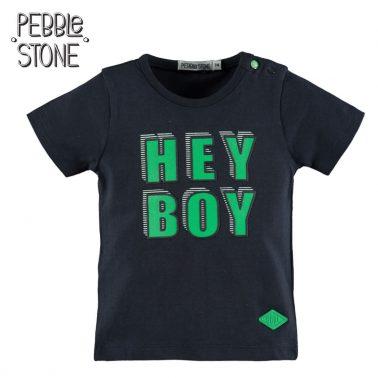 Бебешка блуза с къси ръкави и надпис Hey Boy тъмно синя
