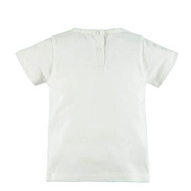 Детска блуза с къси ръкави и гумиран надпис Cool Dude бяла