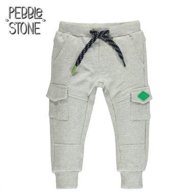 Детско памучно донлище с джобове на крачолите светло сиво