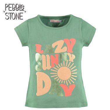 Детска тениска с ефектна щампа с брокат Lazy Sunny Day зелена