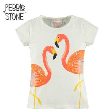 Детска блуза с къси ръкави и щампа с фламинго от пайети екрю