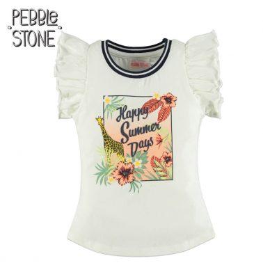 Модерна детска тениска с къдри на ръкавите и цветна щампа екрю