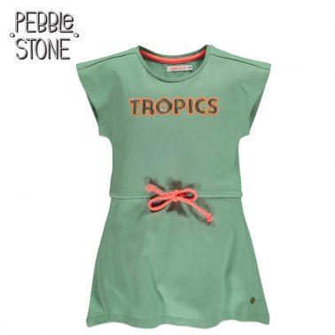 Детска лятна рокля без ръкави с надпис от пайети Tropics зелена