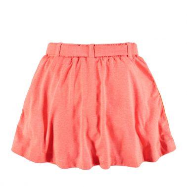 Детска спортна пола с ластик и връзка в искрящо оранжево