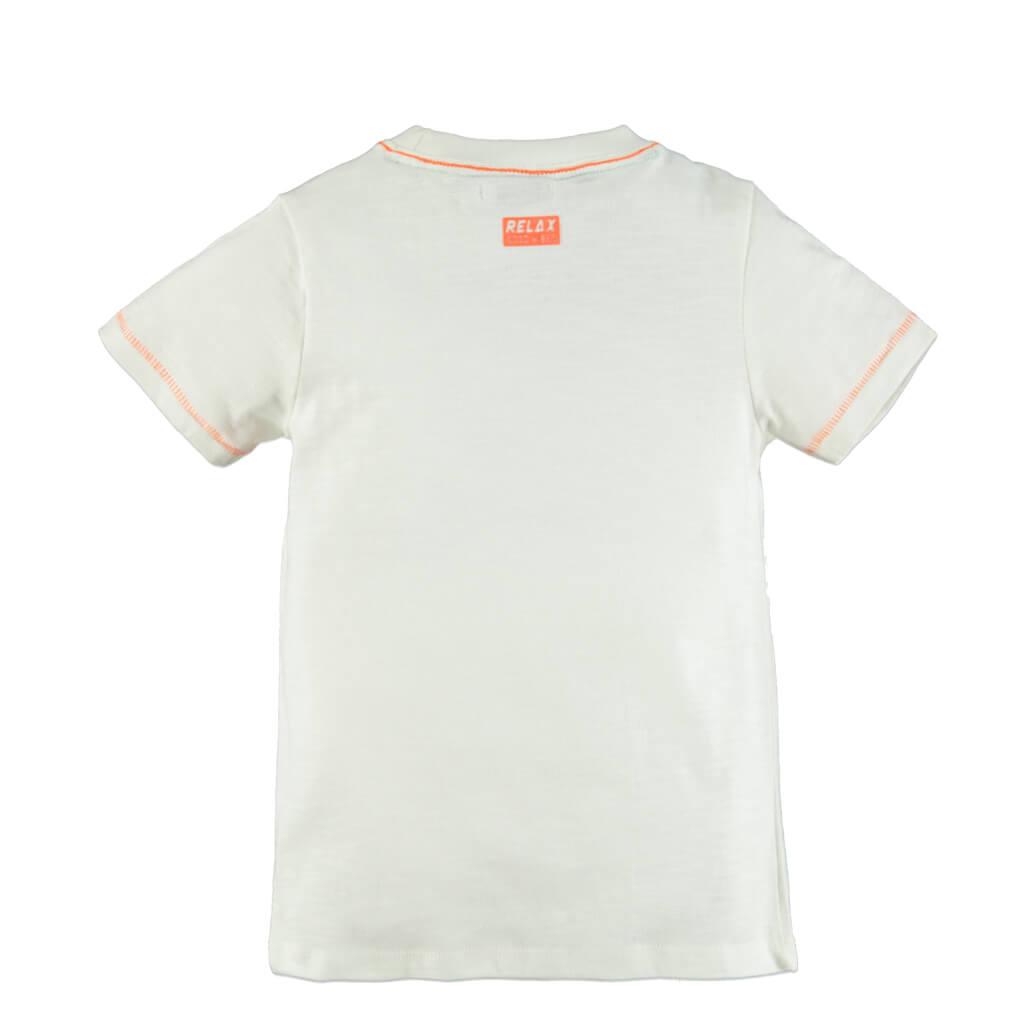 Детска лятна блуза с къси ръкави и щампа с пеликан екрю