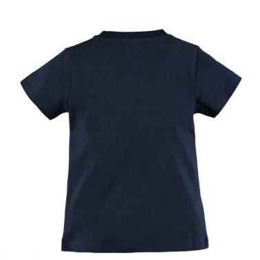 Детска блуза с къси ръкави и щампа с гумиран надпис тъмно синя