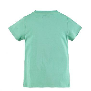Детска тениска с ефектни гумирани надписи в зелено