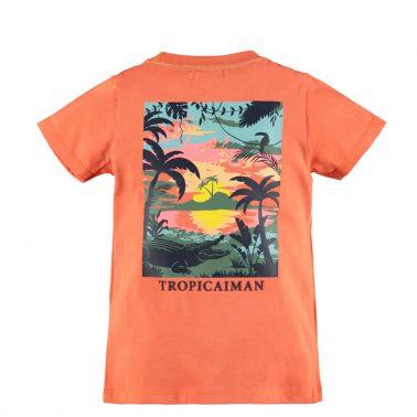 Детска блуза с къси ръкави и джоб в оранжево