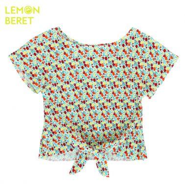 Детска лятна блуза от крепирана материя с възелче червена