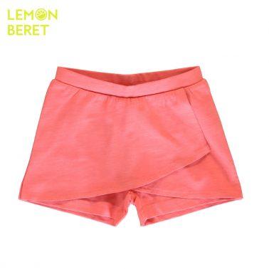 Детска памучна пола-панталон изчистена в цвят корал