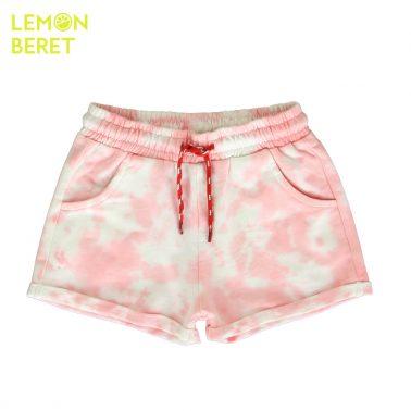 Детски трикотажни къси панталонки с избелен ефект в розово