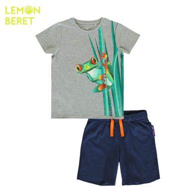 Детски комплект от блуза с къси ръкави и къси панталонки с жаба в сиво