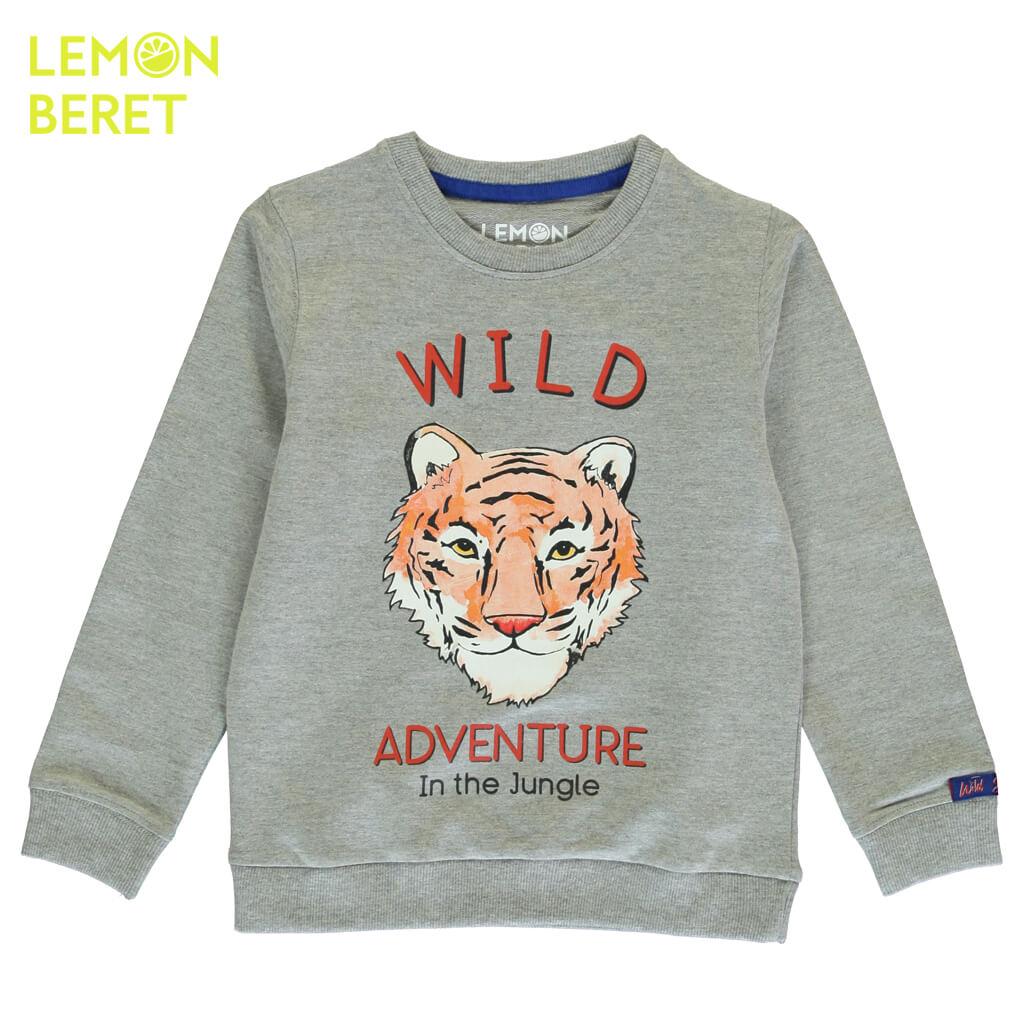 Детска блуза с дълги ръкави и щампа с тигър сива