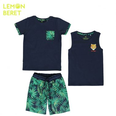 Дески комплект от блуза, потник и бермуди Eco Jungle в тъмно синьо
