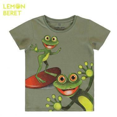 Детска блуза с къси ръкави и щампа с жаби в цвят каки