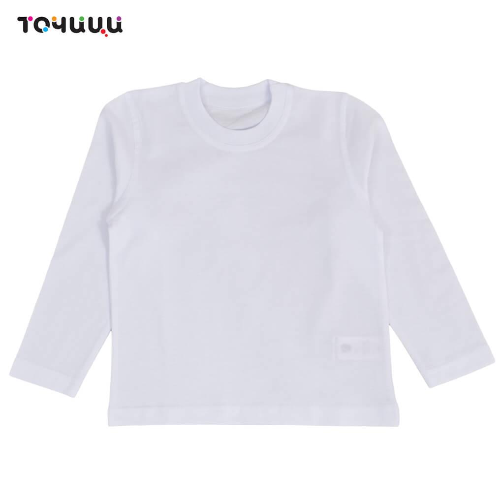 Памучна бяла блуза с дълги ръкави