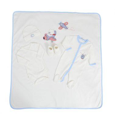 Комплект за изписване на бебе от 5 части с мечета