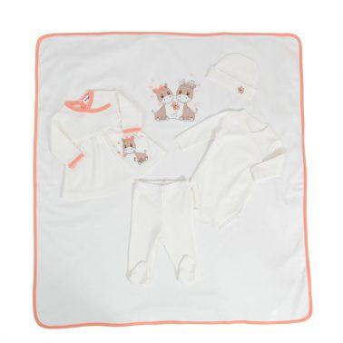 Комплект за изписване на бебе от 5 части с рокля и апликации с жирафчета