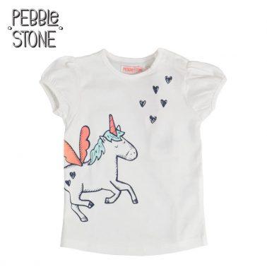 Сладка бебешка блуза с къси ръкави и щампа с еднорог бяла