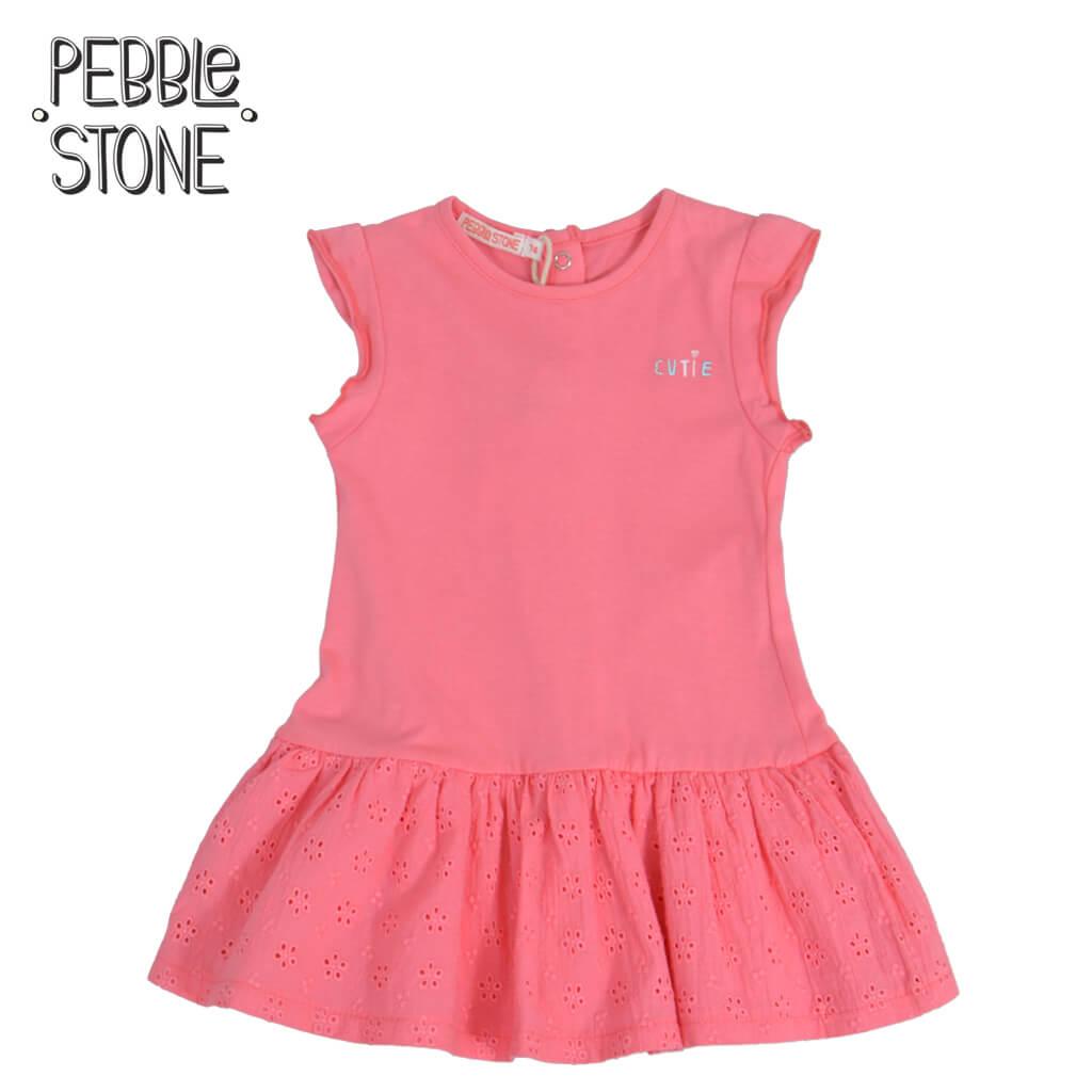 Бебешка рокля с рязана бродерия Cutie в цвят корал