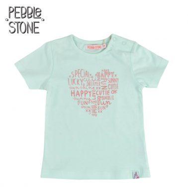 Бебешка тениска с надписи във формата на сърце зелена