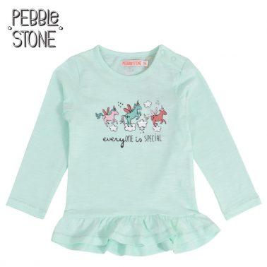 Бебешка блуза с дълги ръкави и щампи с еднорог зелена