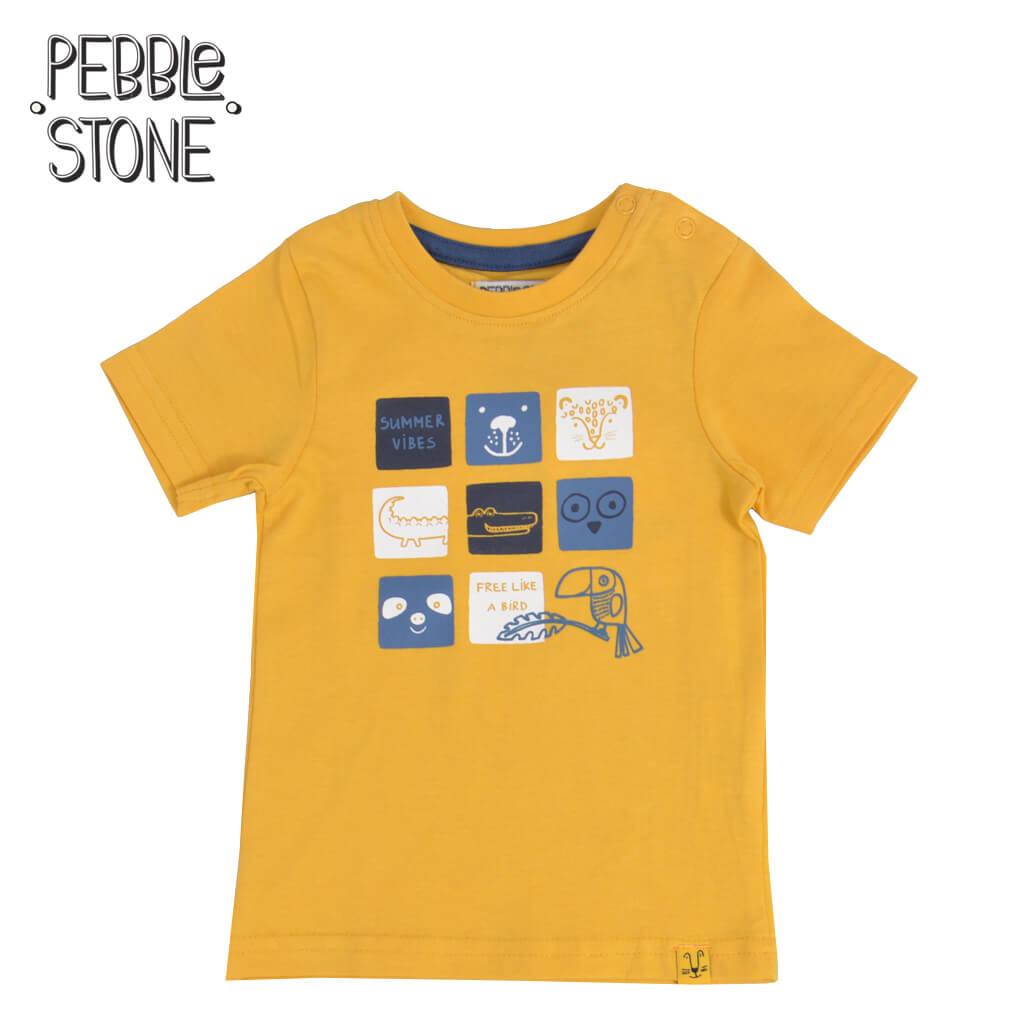 Бебешка тениска с щампа с дви животни жълта