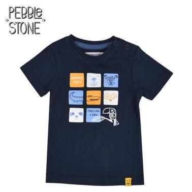 Бебешка тениска с щампа с дви животни тъмно синя