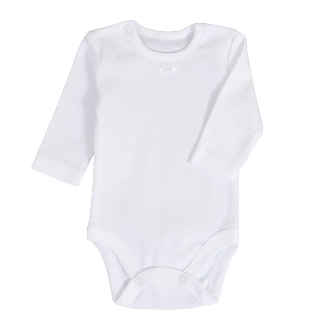 Луксозен бебешки комплект за изписване от 7 части с портбебе и рокля в бяло