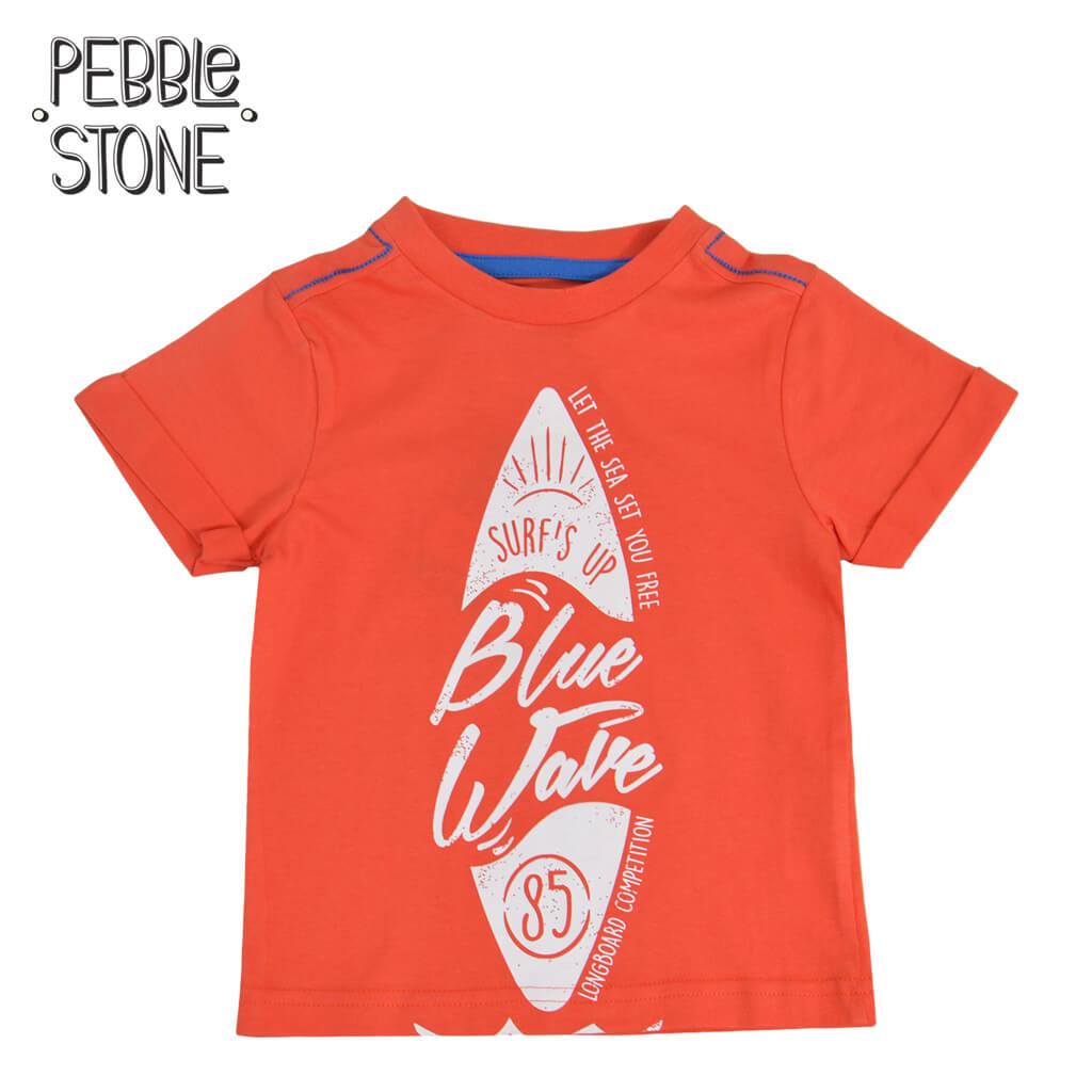 Бебешка блуза с къси ръкави и щампа със сърф оранжева