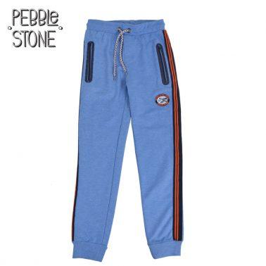 Детско спортно долнище с кантове и джобове с цип синьо