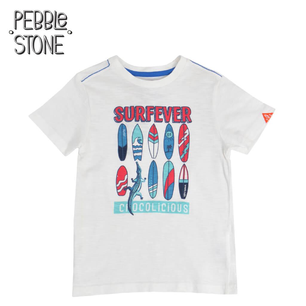 Детска тениска с щампа сърфове и крокодил бяла