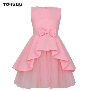 Елегантна детска рокля с тюл и панделка в розово