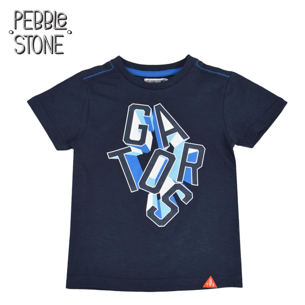Детска тениска с щампа с гумиран надпис тъмно синя