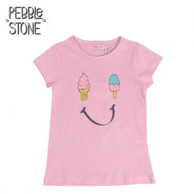 Детска тениска с щампа със сладоледи и усмивка розова