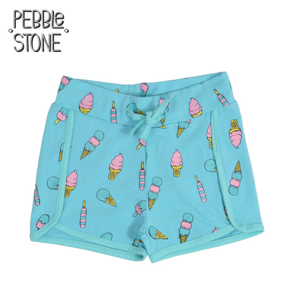 Детски къси панталонки с щампи със сладоледи електрик
