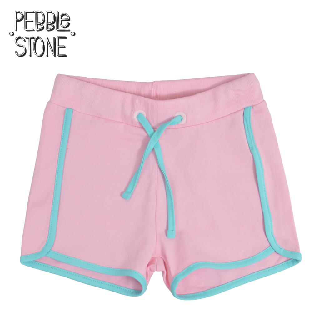 Детски трикотажни къси панталонки с цветни кантове в розово