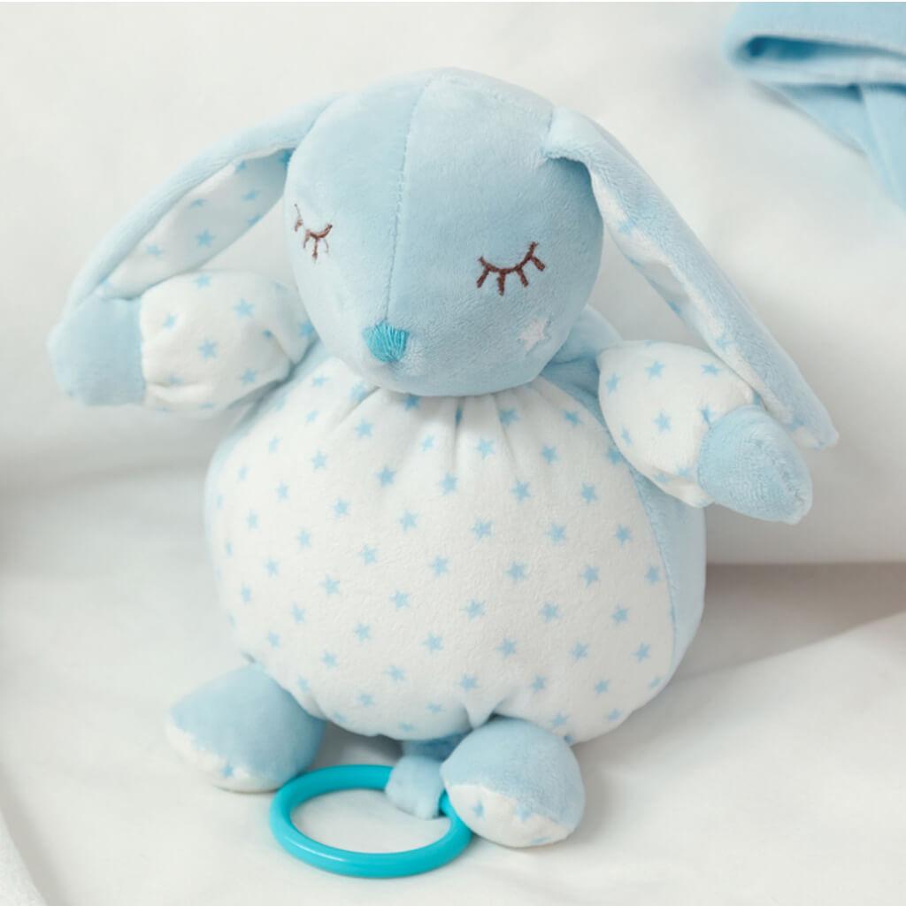 Бебешко плюшено музикално зайче в синьо