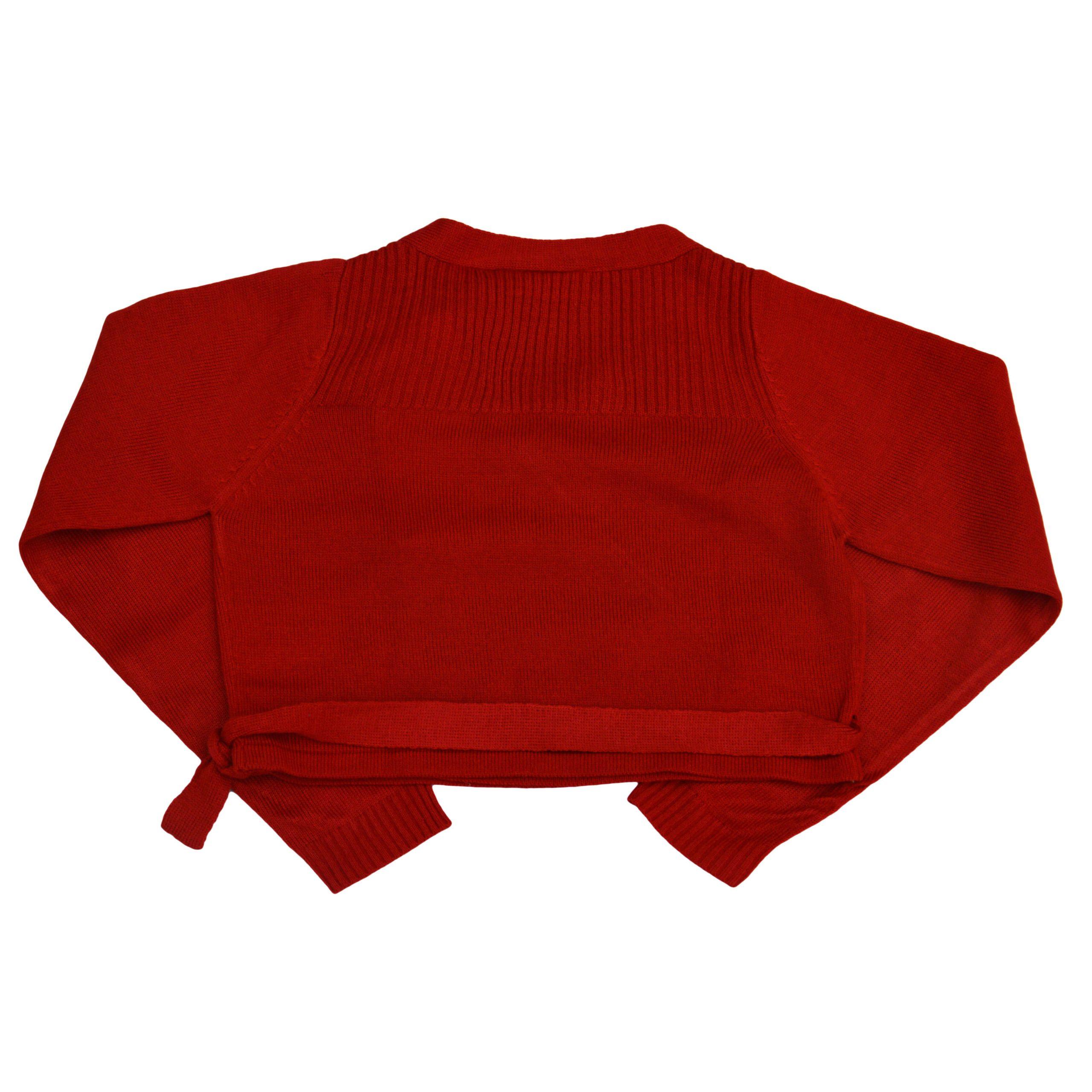 Детска къса жилетка с прехлупване и връзка червена